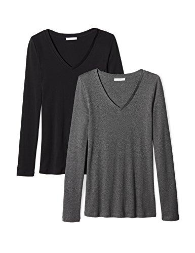 Amazon Brand - Daily Ritual Women's Midweight 100% Supima Cotton Rib Knit Long-Sleeve V-Neck T-Shirt, 2-Pack, Charcoal Heather Grey/Black,Large ()