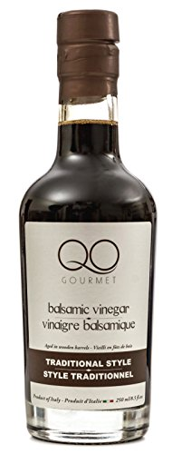 QO Gourmet Thick Aged Balsamic Vinegar of Modena Traditional Style | All Natural Dense Premium Italian Vinegar | Aceto Balsamico | Aged in Wooden Barrels | Produced & Bottled in Modena | 8.5 fl.oz