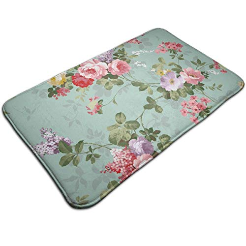 - TERPASTRY Non-Slip Thick Shabby Chic Flowers Roses Pedals Dots Leaves Buds Spring Season Theme Doormat Water Absorbent Bathroom Rugs Machine-Washable Bath Mats 19.7x31.5 Inches