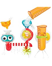 Yookidoo Baby Bath Toy - Spin 'N' Sprinkle Transparent Water Lab - Spinning Gear and Googly Eyes for Toddler or Baby Bath Time Sensory Development - Attaches to Any Size Tub Wall (1-3 Years)