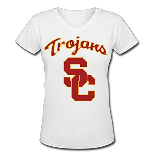 Women's USC Trojans 100% Cotton V Neck Short Sleeve T-Shirt White US Size M