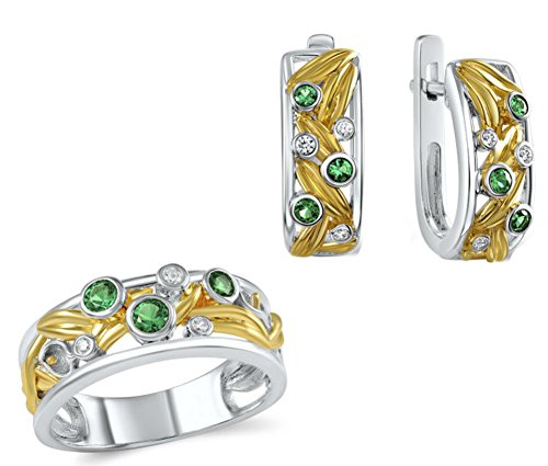 welry Set for Women Green Created Spinel (SIZE : 6.5) (Generations Scroll Green)