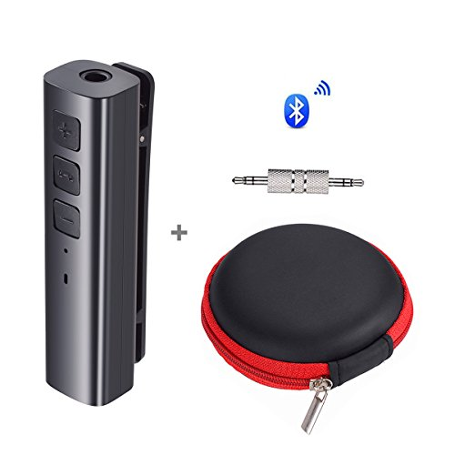 AROUSE Bluetooth Receiver 4.1 Wireless Audio Receiver Headphone Adapter 3.5mm AUX Jack Hands-Free Clip Design Bluetooth Audio Adapter Compatible Home/Car Audio Stereo System, Black