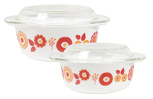 Now Designs Mod Glass Retro Glass Bakeware (Set of 2), Blomma Floral Design by Now Designs