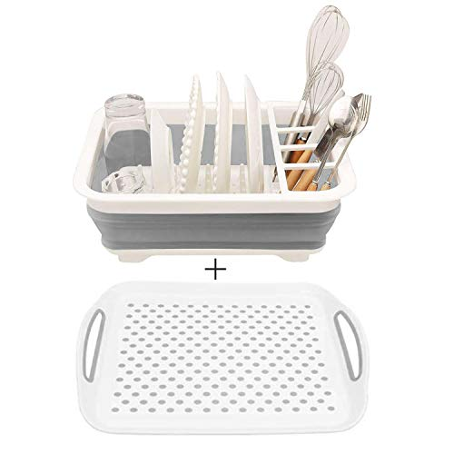Collapsible Dish Drying Rack with Drain Board【New Version】Portable Dinnerware/Glassware/Tableware Organizer - Perfect for Small Kitchen,Camper, RV,Caravan,Travel
