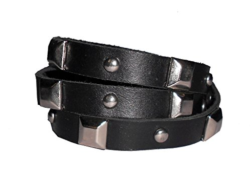 PRERNA Women's 3 Wraps 10MM Wide, with Metal Stud, Leather Bracelet Black with Studs