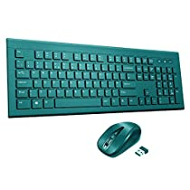19eee2501ccf Wireless Keyboard and Mouse Set【Chiclet Design, Long Battery Life】Patuoxun  Ergonomic 2.4