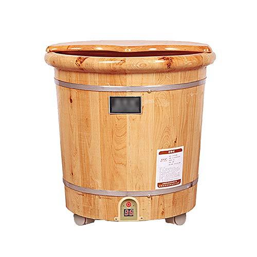 (LJHA Wooden Foot Tub - Remote Controlled Heating Thermostatic Foot Bath Barrel with Electric Heating Health Footbath Foot tub)