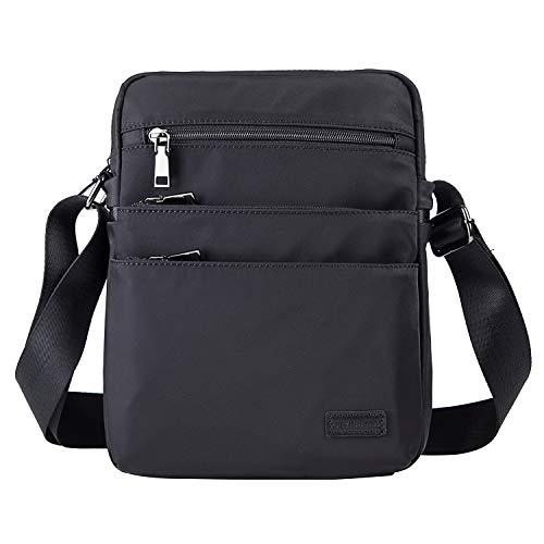 Man Messenger Bag, Waterproof Nylon Leather Lightweight Crossbody Bag Sling Bag for Men Women