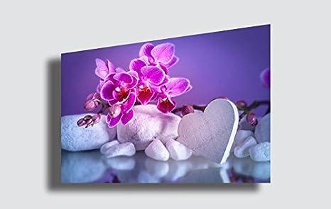 Quadro moderno fiori orchidea amore cuore love pietre zen estetica