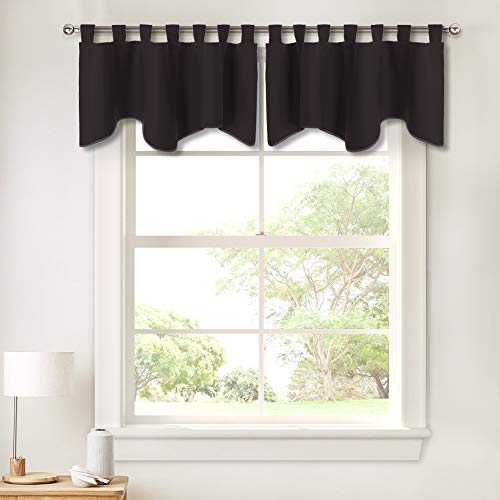 - PONY DANCE Window Valance Curtains - Home Decor Valances Bedroom Thermal Insulated Tab Top Scalloped Curtain Tier Swags and Valances for Kitchen Bathroom, 52 by 18 inch, Brown, 2 Pieces