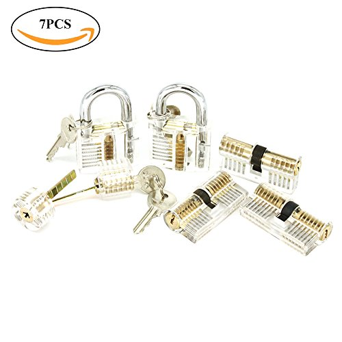 ValueHall Practice Lock Set Transparent Visible Cutaway Crystal Lock Picking Training Set for Locksmith and Beginner Training Include 7 PCS Training Locks V7030-1