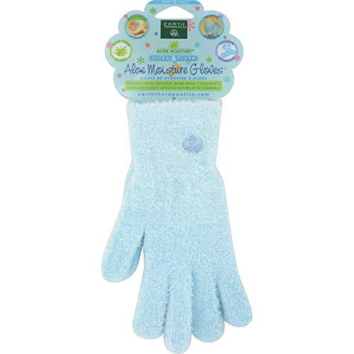 Earth Therapeutics Aloe Moisture Gloves, Ultra Plush Blue, 1 Pair
