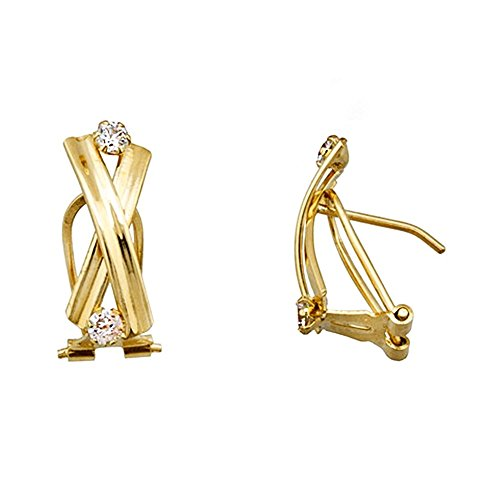 Boucled'oreille 18k or bandes transversales zircons [AA5085]