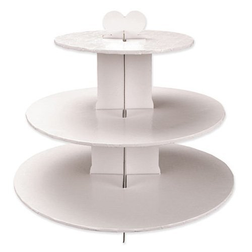 Enjay Cupcake Stand, 8.5 by 12.5 by 14.5-Inch, White