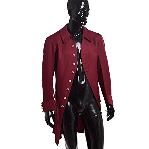 BLESSUME Colonial Men Coat Wine (Red Coat British Costume)