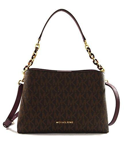 Michael Kors Portia Large East West MK Signature Satchel Crossbody Bag Purse Tote Handbag (Brown/Plum)