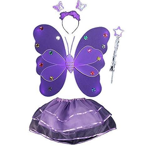 URMAGIC 4Pcs Fairy Princess Kids Costume Sets Butterfly Wings Wand Headband Tutu Skirt Photography Props Perfect for Kids Girls in Kindergarten Hallowmas Party Fancy Dress Birthday