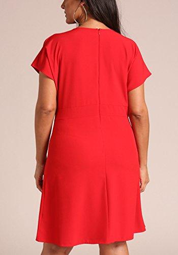 Les Femmes De Magasins Deb Plus La Taille Surplis Profonde V Évasées Robe Rouge