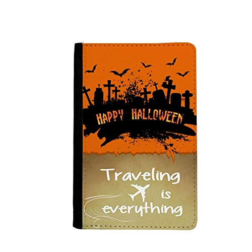 Horror Night Cemetery Halloween Traveling quato Passport Holder Travel Wallet Cover Case Card Purse]()