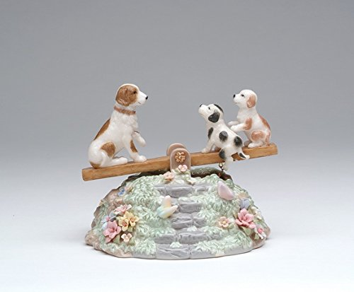 Collectible Porcelain Music Box - Cosmos Gifts SA49112 Fine Porcelain Dog and Puppies Playing Seesaw Music Box Figurine (Music Tune: Playmates), 5