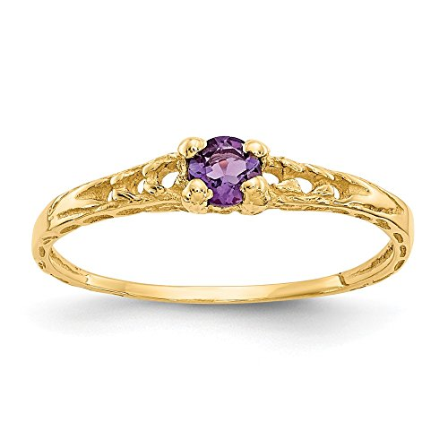 14k Yellow Gold 3mm Purple Amethyst Birthstone Baby Band Ring Size 3.00 February Fine Jewelry Gifts For Women For Her