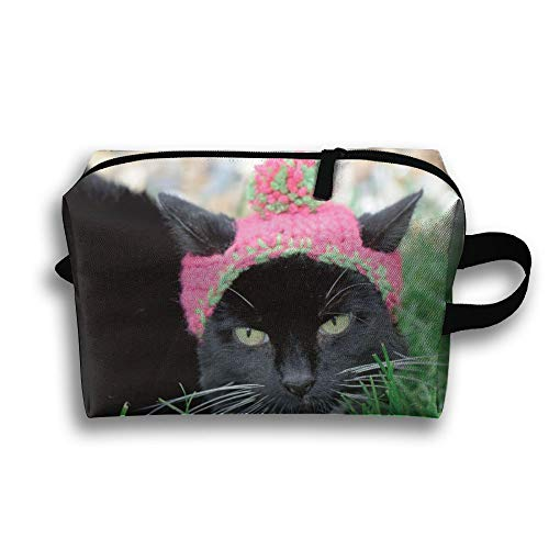 Black Cat In Cute Hat Small Travel Toiletry Bag Super Light Toiletry Organizer For Overnight Trip Bag by LEIJGS