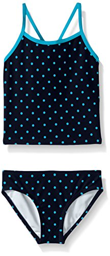 (Kanu Surf Little Girls' Melanie Beach Sport 2-Piece Banded Tankini Swimsuit, Chloe Navy Dot, 5)