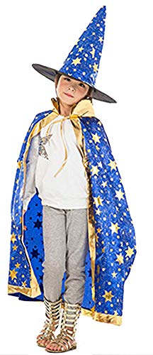(Cloak Length 82cm Children Suit Star Pattern Cloak Wizard Hat,Blue )