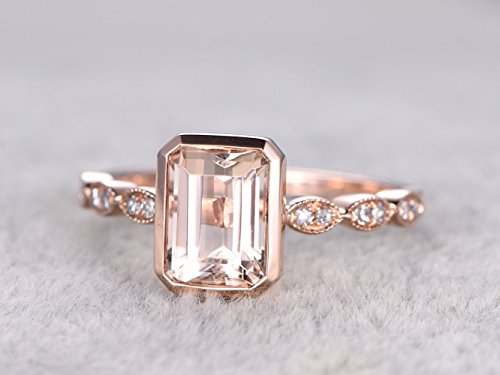 (Solid 14k Rose Gold 6x8mm Emerald Cut Natural Pink Morganite Gem Stone Bezel Set Ring Marquise Milgrain Band Vintage Retro Art Deco Engagement Bridal Ring Band Size 4-9)