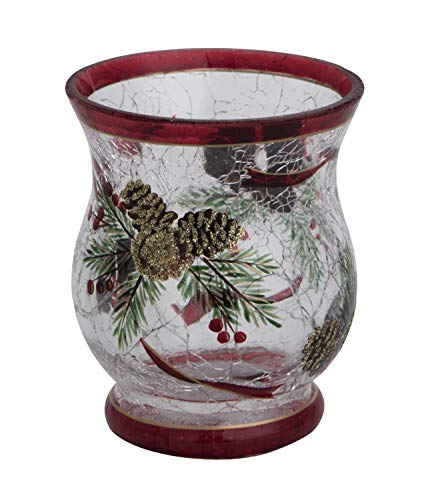 Transpac Imports D1546 Crack Glass Pine Cone Tealight Holder Decor, Red