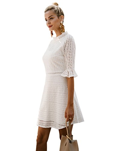 Simplee Line Gown A Hollow White Dress Elegant Mini Sleeve Lace Women's Out Party Half aqxraw7