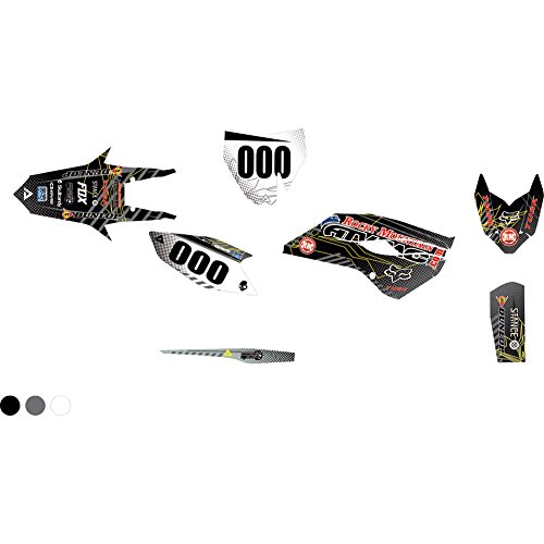 Attack Graphics Custom Havoc Complete Bike Graphics Kit Black/Dark Grey - Fits: Husqvarna TC 85 19/16 2018-2019