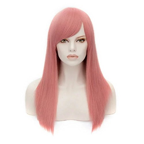 55cm Heat Resistant 21 Colors Long Straight Women Party Fashion Cosplay Wig +Cap (Milkshake Pink) -