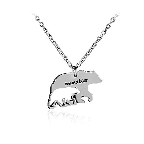 Engraved Heart Tag Necklace (Meiligo Fashion 2 Pcs Mother's Gift Love Heart mama bear Puzzle Dog Tag Necklace Jewlery Striped pendant Matching Engraved Bar Necklace Set (mama baby bear))
