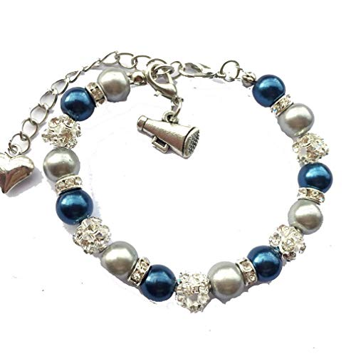 (DOLON 8mm Faux Pearl Cheer Bracelet Sports Cheering Cheerleader Megaphone Jewelry Navy Blue with Silver)