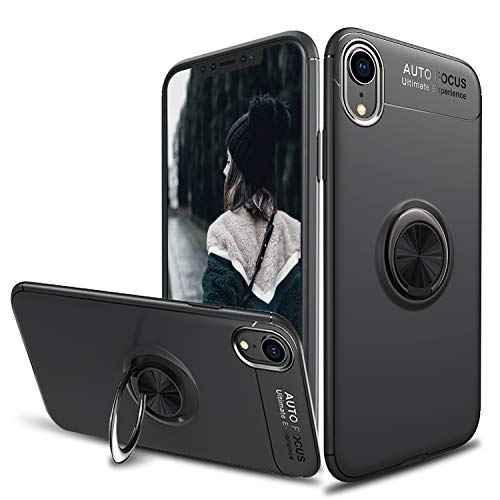 Tevero Soft iPhone Xs Max Case, [Ring Series] Ultra Slim 360 Degree Rotating Ring Kickstand with Magnetic Shockproof Protective Phone Case Cover Compatible with iPhone Xs Max (2018) 6.5 inch (Black)
