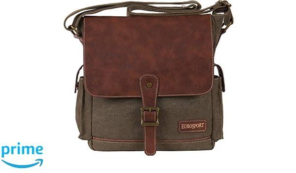 5b2c3d07209b Amazon.com  Eurosport Canvas Extra Large Top Flap Messenger Bag Olive B910  Zipper Pockets  Sports   Outdoors