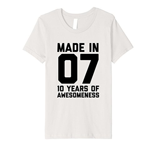 Kids 10th Birthday Shirt Gift Age 10 Year Old Boy Girl Tshirt Tee 12 Silver