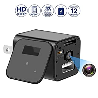 Mini Spy Camera Wall Charger Camera - 1080P HD USB Hidden Camera Adapter with Motion Detection, Mini Video Recorder for Home/Office Surveillance,Support 32GB Internal Memory(SD Card Included)