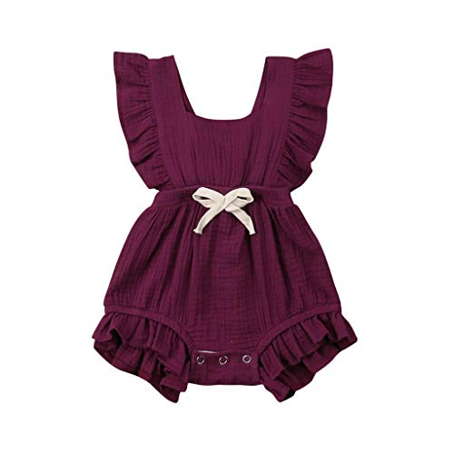 - WEUIE Toddler Baby Girl Ruffled Rompers Sleeveless Cotton Romper Bodysuit Jumpsuit Infant Clothes Wine