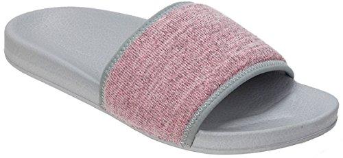 Dearfoams Womens Knit Molded Footbed Slide Slippers Fresh Pink/Grey Jt9c2eHl21
