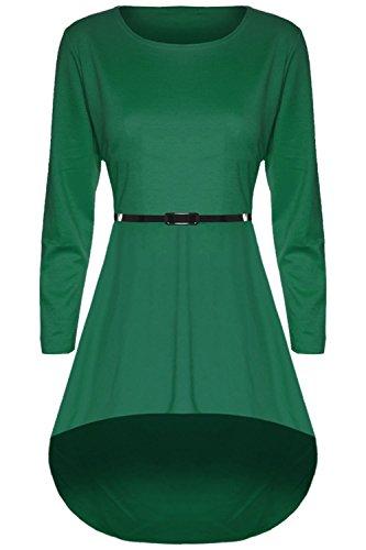 Be Jealous - Robe Femme Style Patineuse Élastique Ourlet Plongeant Manche Longue Extensible Grande Taille - EUR PLUS 48/50, Vert Jade