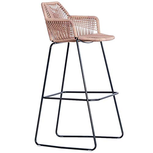 ZTCWS Bar Stools Indoor Outdoor Rattan Barstool Armchair Set Rattan Wicker Chairs Set with Footrest and Armrest