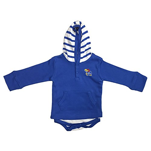 Two Feet Ahead Kansas Jayhawks Newborn Infant Striped Hooded Creeper Sweatshirt Jacket (6 Months)