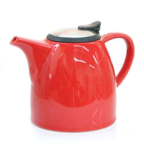 Tealyra Drago Ceramic Teapot with Stainless Steel Lid and Extra-Fine Infuser - 1.1L / 37oz - Red