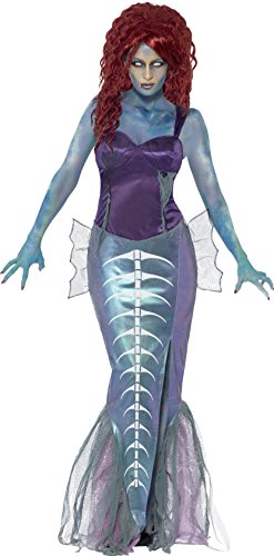 Smiffy's Women's Zombie Mermaid Costume, Top and Fishtail Skirt, Zombie Alley, Halloween, Size 14-16, (Fish Halloween Costume For Adults)