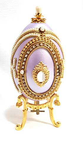 Purple Easter Faberge Style Imperial Russian Egg Musical Handcrafted Cameo Photo Frame Proposal Ring Box Authentic Goose Egg Hand Decorated with Swarovski Gemstones Embellished 24kt Gold 5.9