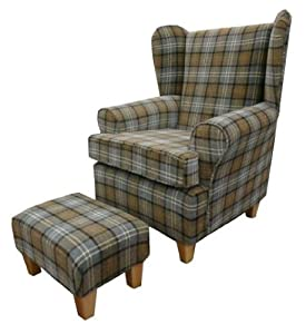 Assorted tartan queen anne design wing back fireside high - Amazon bedroom chairs and stools ...