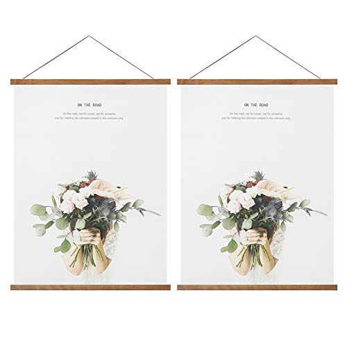 Miaowater 2 Pack Magnetic Poster Frame Hanger,Light Wood Wooden Frames Hangers for Photo Picture Art Canvas Print Artwork Wall Hanging
